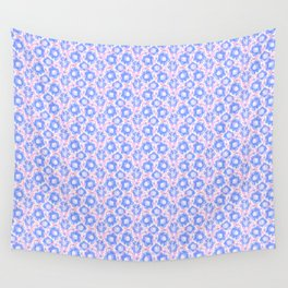 Pretty Spring Flowers , Pink & Lavender Blooms in a Jewel Tones Garden Pattern llustration Wall Tapestry