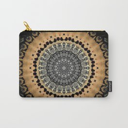 Black Marble with Gold Brushed Mandala Carry-All Pouch