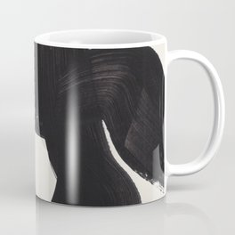 Mid Century Modern Minimalist Abstract Art Brush Strokes Black & White Ink Art Maze Coffee Mug