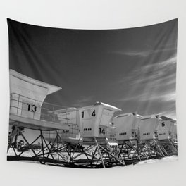 BEACH - California Beach Towers - Monochrome Wall Tapestry