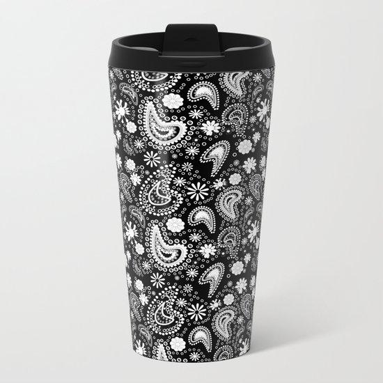 Paisley Power Black and White Metal Travel Mug