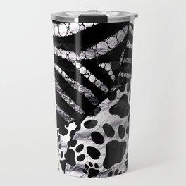 Kitty Paws&Zebra Print metal texture (Silver,Black) Travel Mug