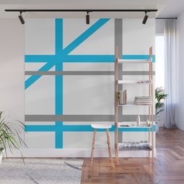 Blue & Gray lines Wall Mural