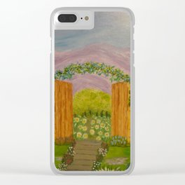 Beyond The Gate Acrylic Painting by Rosie Foshee Clear iPhone Case