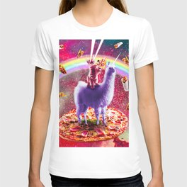 Laser Eyes Outer Space Cat Riding On Llama Unicorn T-shirt