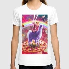 Laser Eyes Outer Space Cat Riding On Llama Unicorn T-shirt