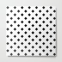 Black and White Swiss Cross Pattern Metal Print