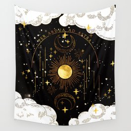 Per Ardua Ad Astra |Sun, Moon and Stars |Divine Witchy Aesthetic Print Wall Tapestry