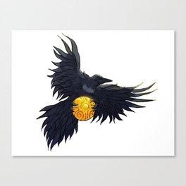 Crow Grabbing Sphere Canvas Print