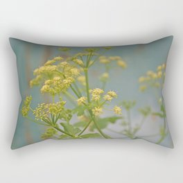 Yellow wildflowers on blue rusty metal Rectangular Pillow