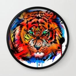 tiger watercolor art Wall Clock