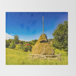 Haystack in the Carpathians of Romania Throw Blanket