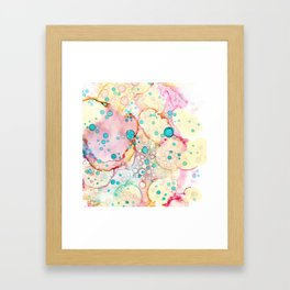 Floating bubbles watercolor illustration print pink Framed Art Print