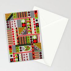 Geometric spring design with ladybugs and flowers Stationery Cards