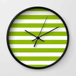 Spring Fresh Apple Green & White Stripes- Mix & Match with Simplicity of Life Wall Clock