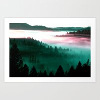mountains Art Prints featuring Misty Mountains Morning : Magenta Mauve Teal by 2sweet4words Designs