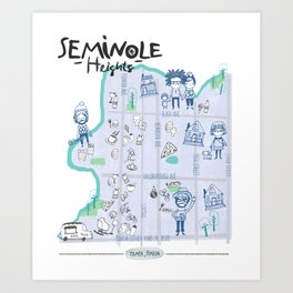Seminole Heights Map Art Print