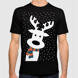 Reindeer in a snowy day (blue) T-shirt