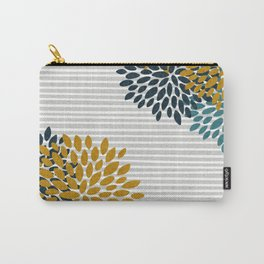 Floral Blooms and Stripes, Navy Blue, Teal, Yellow, Gray Carry-All Pouch