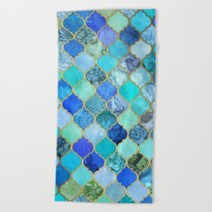Cobalt Blue, Aqua & Gold Decorative Moroccan Tile Pattern Beach Towel