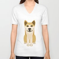 vector V-neck T-shirts featuring Shiba dog vector by TIERRAdesigner