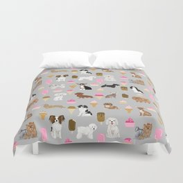 Small Dog Breeds with ice creams summer fun for the pet lover dog person in your life Duvet Cover