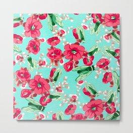 Botanic Floral Pink Blue Metal Print