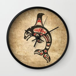 Red and Black Haida Spirit Killer Whale Wall Clock