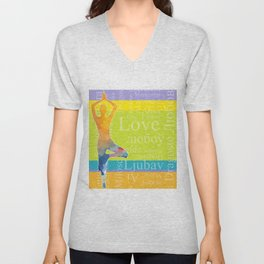 Simple silhouette of woman doing yoga with word Love in different languages Unisex V-Neck