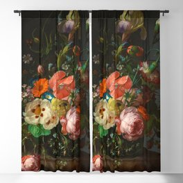 """Rachel Ruysch """"Still Life with Flowers on a Marble Tabletop"""" Blackout Curtain"""