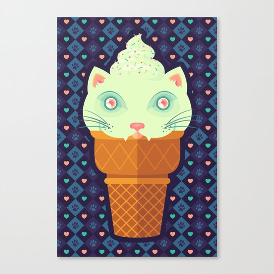 Strawberry-Mint Cat Canvas Print