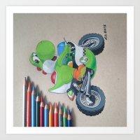 yoshi Art Prints featuring Yoshi by Reagen Lyle