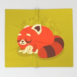 Sleeping Red Panda and Bunny / Cute Animals Throw Blanket
