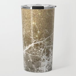 Vintage black white gold glitter marble Travel Mug