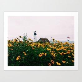 Portland Headlight and Flowers Art Print