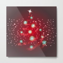 Christmas tree in red color. Metal Print