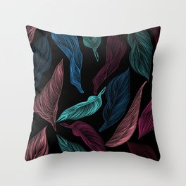 silk leaves Throw Pillow