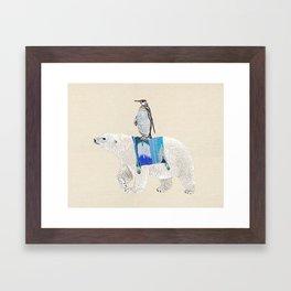 Polar Bear with penguin  Framed Art Print