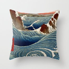 Andō Hiroshige Naruto Whirlpool, Awa Province Throw Pillow