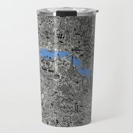 Map of London Thames Drawing Travel Mug