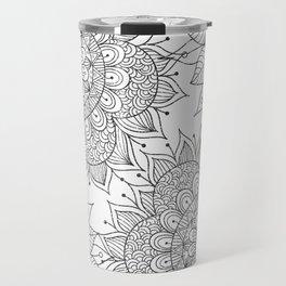 Hand painted black white floral mandala Travel Mug
