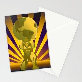 golden atlas holding the globe Stationery Cards