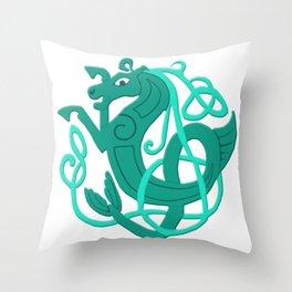 Green Celtic Seahorse Throw Pillow