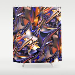 Iridescent Copper Metallic Patina Abstract Shower Curtain