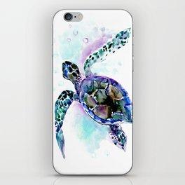 Sea Turtle Underwater Scene Artwork, turquoise blue, gray design beach iPhone Skin