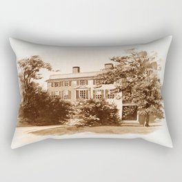 Vintage Sketched House in Sepia Rectangular Pillow