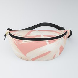 Tropical Coral Pink Palm Leaf Pattern Fanny Pack
