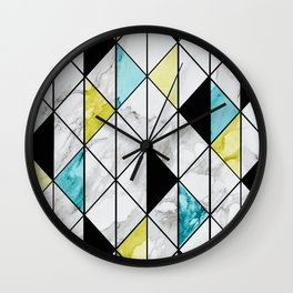 Marble Colorblocking with Yellow and Turquoise Wall Clock