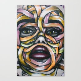 Ribbon Girl Graffiti Wall Art Canvas Print