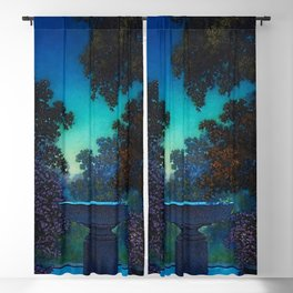 Blue Fountain at Twilight by Maxfield Parrish Blackout Curtain